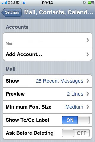 choose Settings > Mail > Accounts > Add Account
